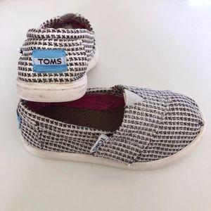 Girls Toms Dark Gray Silver Metallic White Shoes 7